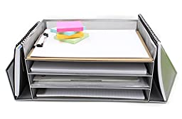 EasyPAG Mesh Desk Letter Tray Literature Organizer with 4 Horizontal and 2 Upright Sections ,Silver