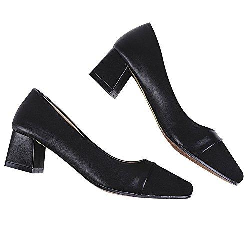Cuir Fête Chaussures Suède Femme Noir Robe Travail Talons Formel Chunky Rismart Escarpins I8vqRw7w
