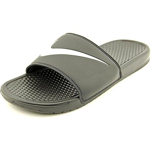 Nike Mens Benassi Swoosh Slide Sandal (8, Black/White)