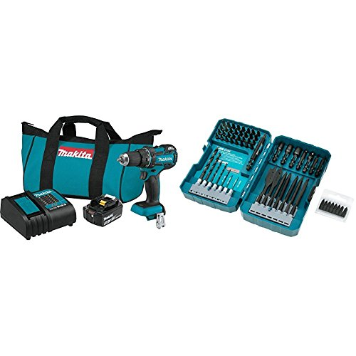 "Makita XFD061 18V LXT Lithium-Ion Compact Brushless Cordless 1/2"" Driver Drill Kit (3.0Ah) with T-01725 Contractor-Grade Bit Set, 70-Pc."
