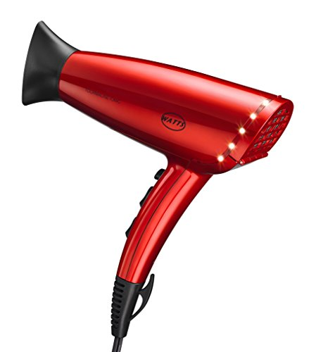 WATTS HD-16 Hair Dryer 1875 W Professional Blow Drier Tourmaline Negative Ionic Anti Frizz Static Eliminating Hairdrier Ceramic Radiation Far Infrared Heat Blower Compact Light Weight Design (Red)