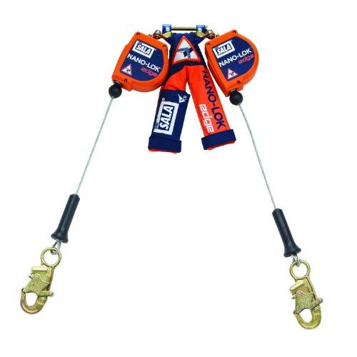 3M DBI-SALA Nano-Lok Edge 3500249 SRL, 8', Double-Leg 100 Percent Tie-Off, Leading/Sharp Edge Aluminum Rebar Hook, Quick Connector for Harness Mount