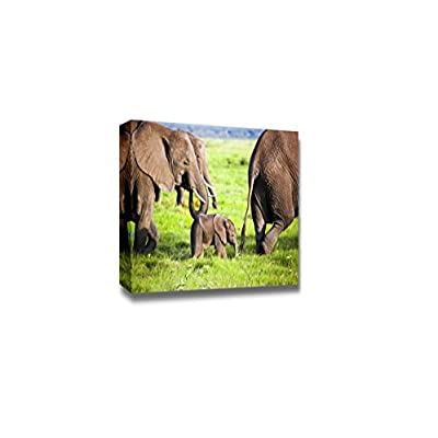 Canvas Prints Wall Art - Elephants Family on African Savanna | Modern Wall Decor/Home Art Stretched Gallery Canvas Wraps Giclee Print & Ready to Hang - 12