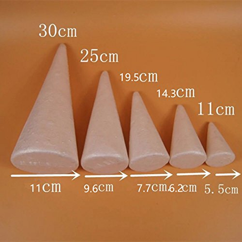 WellieSTR 25pcs 5Size Mixed Large Modelling Polystyrene Styrofoam Foam Ball White Cone For DIY Christmas Party Decoration Supplies Gifts