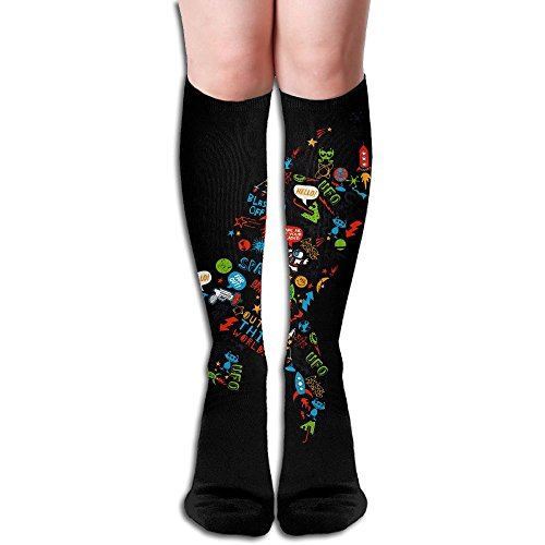 Astronaut 50CM Long Dress Over-the-Calf Tube Socks For Outdoor Activities Casual Comfortable Breathable Stocking]()
