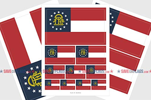 Stickers Georgia Flag (Georgia Flag Sticker, Weatherproof Vinyl State of Georgia Flag Stickers)