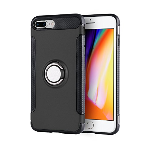 Finger Magnet (Phone 7 Plus case iPhone Aladom Heavy Duty Protection Anti Slip 360 Degree Rotating Finger Ring Holder Magnet Car Holder Apple iPhone 7 Plus iPhone 8 Plus Black)