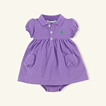 5b4ee2d56aae0 Amazon.co.jp: ポロラルフローレン ポケット付半袖ワンピース パープル (女の子3~9か月用) 9M  並行輸入品   服&ファッション小物