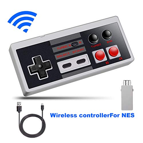 NES Classic Wireless Controller, WISSBLUE Wireless Controller Console Gamepad for Nintendo NES Classic Mini Edition Gaming System with 2.4G Wireless Receiver … (Wireless Gaming Receiver)