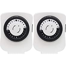 GE 2-Pack | 24-Hour Indoor Basic Timer, 1 Polarized Outlet, Plug-In, Daily On/Off Cycle, 30 Minute Interval, for Lamps, Seasonal Appliances, and Portable Fans, 15417