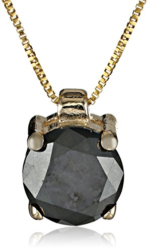 10k Yellow Gold Round Black Diamond Solitaire Pendant Necklace (1.00 ct), 18″