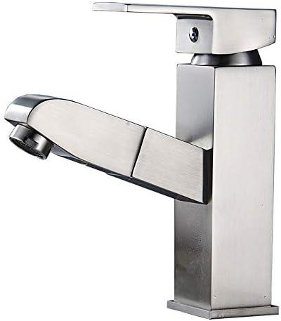キッチン水栓 ポップアップ排水の単一のハンドルの単一の穴の真鍮の浴室の流しのコック キッチンとバスルームに適しています (Color : Silver, Size : Free size)