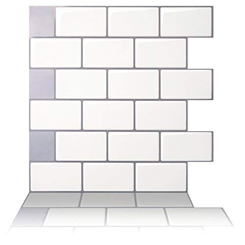 Tic Tac Tiles - Premium Anti Mold Peel and Stick Wall Tile in Subway Design (12'x12' 10 Sheets, Mono White)