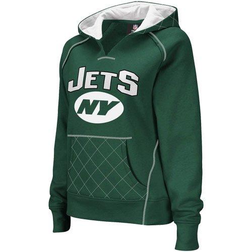 Reebok New York Jets Ladies Green Quilted Pullover Hoodie Sweatshirt (Small)