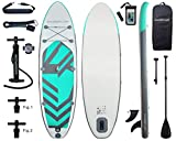 Aqua Plus 11ftx33inx6in Inflatable SUP for All Skill Levels with Stand Up Paddle Board Boat, Adjustable Paddle,Boat Double Action Pump,ISUP Travel Backpack, Leash, Shoulder Strap,TPU Waterproof Bag