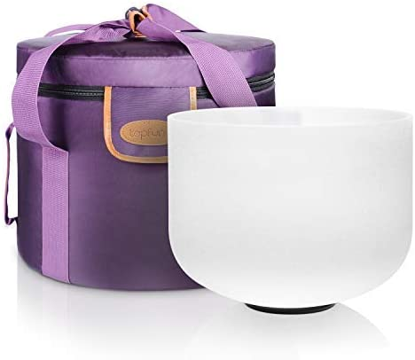 TOPFUND 432 hz F Note 10 inch Heart Chakra Crystal Singing Bowl with Heavy Duty Carrying Case and Suede Striker