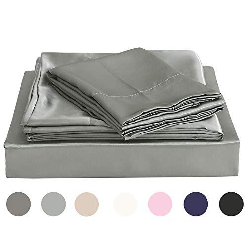 Homiest Light Gray Queen Sheet Set Satin Bedding Sheets Set, 4pc Queen Bed Sheet Set with Deep Pockets Fitted Sheet