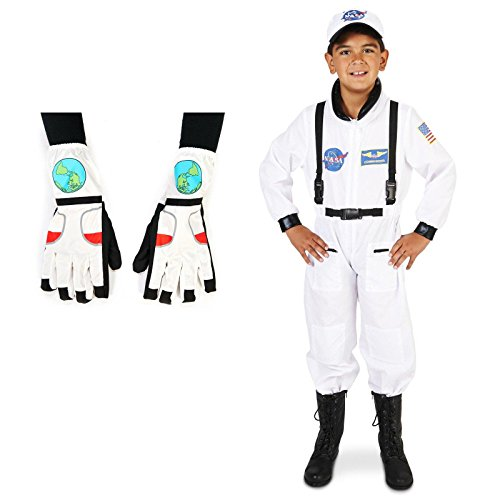 [White Astronaut Child Costume Small (4-6) with Gloves Bundle Set] (Astronauts Costumes)