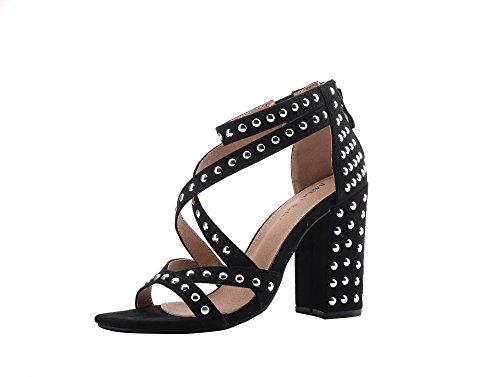 Ashley A Collection Ursula Women's Glamorous Platform Strappy with Studs Embellishment Block Chunky Heels,BLACK9 (Black Ashley In Dress)