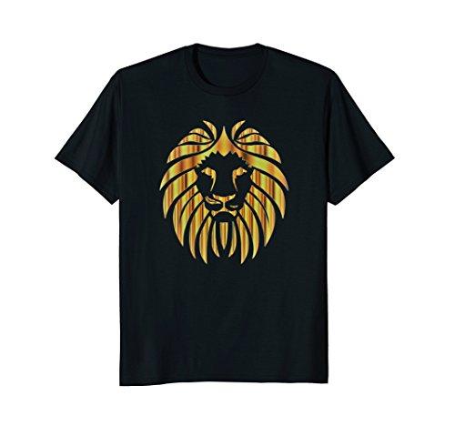 Golden Lion Head T-Shirt Animal Graphic Art Design (Blue Lion Head)
