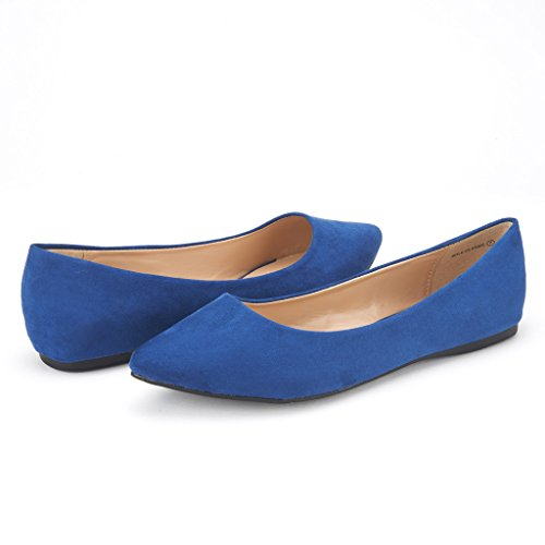 DREAM PAIRS Sole Classic Fancy Damen Casual Spitzschuh Ballett Comfort Soft Slip auf Wohnungen Schuhe Navy-Wildleder