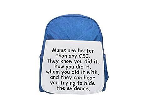 "Mochila azul con la frase ""Joking about CSI"" impresa, mochilas lindas,"