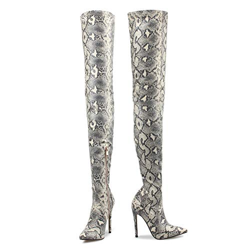 OLCHEE Women's Thigh High Boots Stiletto High Heel Side Zipper Faux Leather Over The Knee Boot Snake Print Grey-Size 8-8.5