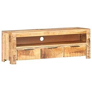 vidaXL Bois de Manguier Brut Meuble TV Armoire Basse Meuble Divertissement avec 1 Compartiment et 3 Tiroirs Salon Maison…