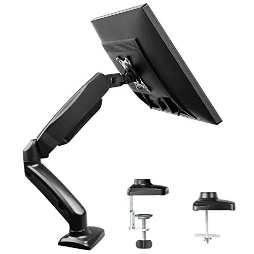 - Single Monitor Stand - Articulating Gas Spring Monitor Arm, Adjustable VESA Mount Desk Stand with Clamp and Grommet Base - Fits 13 to 27 Inch LCD Computer Monitors up to 14.3lbs, VESA 75x75, 100x100