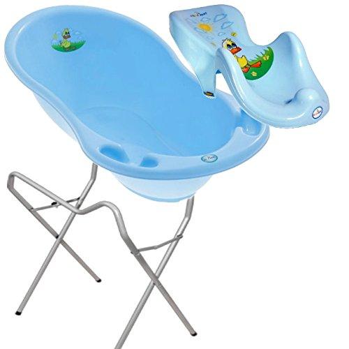 LUX BABY BADESET ENTE Große Babybadewanne 102cm + Badesitz + Ständer - Blau