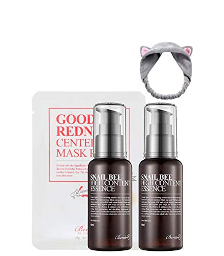2 X Benton Snail Bee High Content Essence 60ml ( Snail Essence Bundle with Headband Gift by FACIAL-MASK )