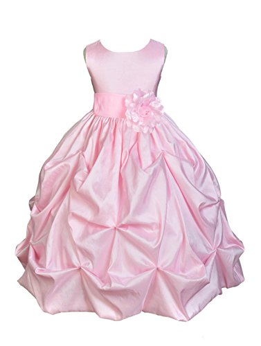 Wedding Pageant Pink Bubble Pick-up Kid Flower Girl Dress 301s 2