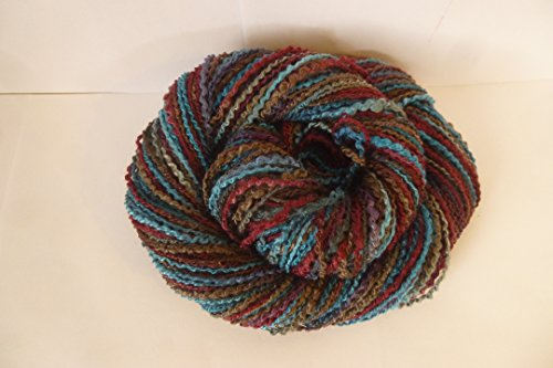 - Space Dyed Multicolor Teal Cranberry Blues Mocha Spiral Flake Yarn