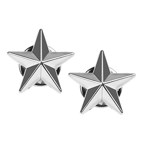 BCP 1 pair Alloy Suit Shirt Collar Pin Back Lock Brooch Badge Decoration (No.18 Star ()