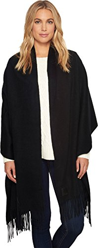 UGG Women's Solid Wool Oversized Fringe Scarf Black One Size by UGG