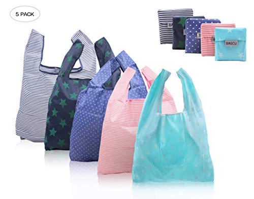 atterned Foldable Reusable Recycling Shopping Tote Bag Travel Totes Recycle Grocery Bags -Various Color (Stripes, stars, polka dots) ()