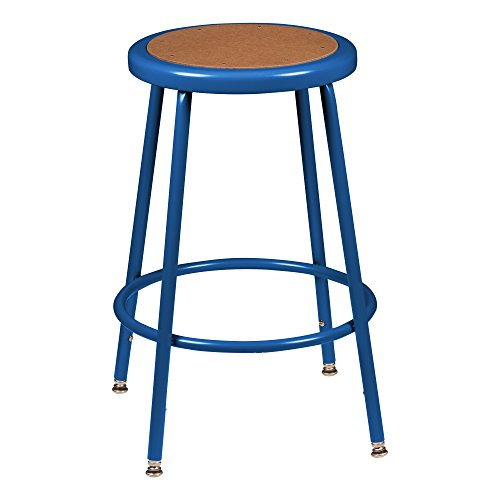 Adjustable Height Steel Lab Stool - Learniture NOR-538ABL-24 Counter to Bar Height Steel Stool w/Hardboard Seat and Adjustable Height