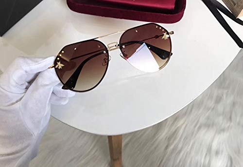 2018 bee Sunglasses Women Girls Marine Transparent Thin face Sheet substantially Round Metal Irregular Fashion Sunglasses Eyewear (Gold Frame Transparent - Transparent Sunglasses Metal