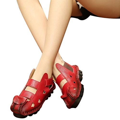 Vogstyle Women's New Summer Sandals Vintage Handmade Genuine Leather Flats Shoes Rosso (Rot-Art 3) FaYavAdM