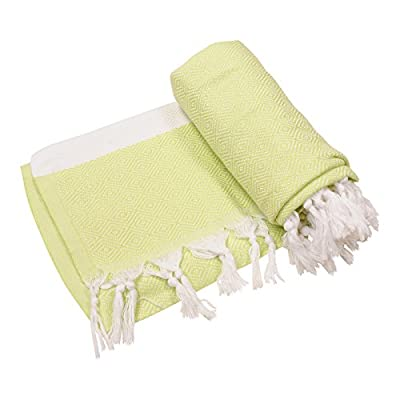"""Anatolia Towel Diamond Collection Turkish Towel Peshtemal Fouta Bath Towel Beach Towel Swimsuit Cover Up Spa Sauna Gym Travel Picnic, 100% Cotton 39""""x70"""" (Lime Green) - ✔ QUICK-DRYING ★ EASY-TO-PACK ★ LIGHTWEIGHT ★ ABSORBENT ★ SUPER SOFT ✔ SUPER VERSATILE: Perfect for Bath, Beach, Pool, Spa, Sauna, Travel, Yoga, Camping, Baby Care, Yacht, Gym, Fitness, Cover Up, Table Cloth, Picnic Blanket, and Throw Blanket. The possibilities are just endless. Also, they don't pick up sand like terry towels when you hit the beach. Diamond Design ✔ PERFECT FOR TRAVEL: Lightweight, easy to fold and carry, compact. They take up much less space than other towels which make them very practical for travel, vacations, and weekend getaways. Size: 39"""" x 70"""" (100x180 cm), Weight: 13 oz (360 grams) - bathroom-linens, bathroom, bath-towels - 4104zI2wLfL. SS400  -"""