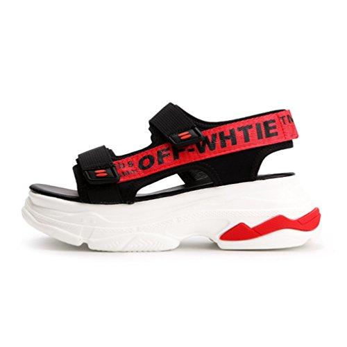 Plates Ouvertes Confortable de Sports Sandales Talon Sandale Rouge Mode Femmes Plage Chaussures de Loisir 5UWdqFf