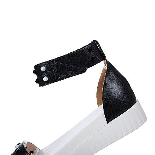 Amoonyfashion Damessandeel-hakken Zacht Materiaal Stevige Klittenband Open Sandalen Zwart
