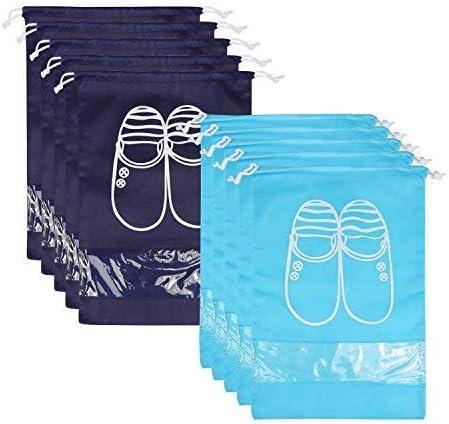 BELLESTYLE 10 Pcs Drawstring Shoe Bags Organizer traspirante a prova di polvere con borse trasparenti per borse da viaggio da finestra 5 blu navy e 5 blu chiaro taglia L