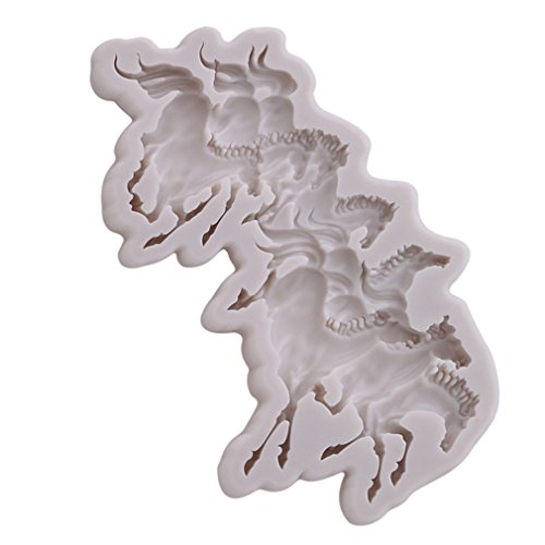 - Dolland Fine Horse Silicone Mold Sugar Craft Fondant Cake Tools Cake Decoration Mold Kitchen Baking Decoration Tool-Get Off The Ground,Gray,One Size