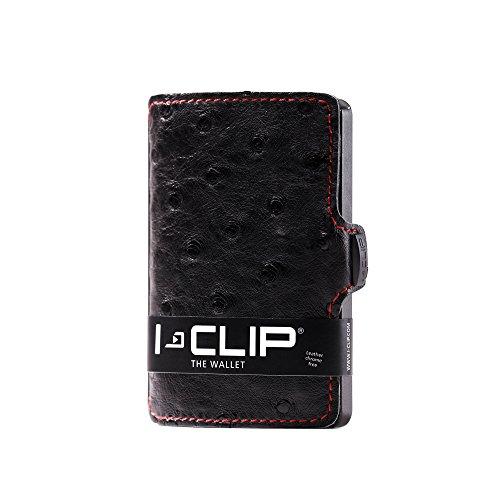 Money Clip Ostrich - I-CLIP - Gunmetal Black (Ostrich Black, Red Seams) - Slim Wallet - Minimalist, Thin Design & Money Clip