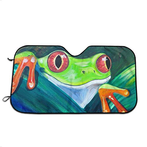 YVONNE WIDLAN Windshield Sun Shade Tree Frog Car Windshield, Sun Shade to Keep Vehicle Cool Protect Your Car from Sun Heat & Glare Best UV Ray Visor Protector (Size: 51