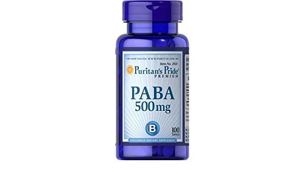Paba - Acido paraaminobenzoico 500 mg 100 comprimidos. 1 und.: Amazon.es: Salud y cuidado personal