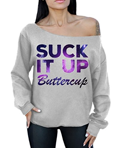 Suck It Up Buttercup Off the Shoulder Oversized Sweater Sweatshirt Galaxy L Gray
