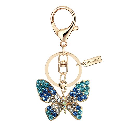 Bling Blue Crystal Butterfly Design Keychain Creative Packaging Design Box MZ835-3 ()