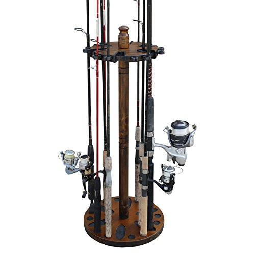 Rush Creek Creations Round 24 Fishing Rod Rack with Dual Rod Clips - No Tool Assembly
